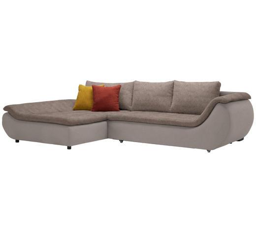 WOHNLANDSCHAFT in Textil Braun  - Schwarz/Braun, Design, Kunststoff/Textil (185/310cm) - Carryhome