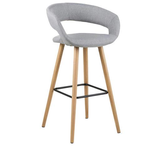 BAROVÁ ŽIDLE, světle šedá - barvy dubu/světle šedá, Design, dřevo/textil (55/98/46,5cm) - Carryhome