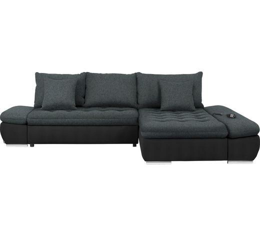 WOHNLANDSCHAFT in Textil Anthrazit, Schwarz - Chromfarben/Anthrazit, Design, Textil/Metall (309/200cm) - Hom`in