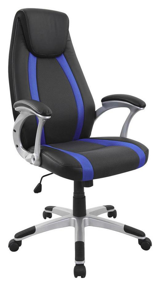 PISARNIŠKI STOL kovina, les, tekstil, umetna masa črna, modra - modra/črna, Design, kovina/umetna masa (65/115-125/68cm) - Xora