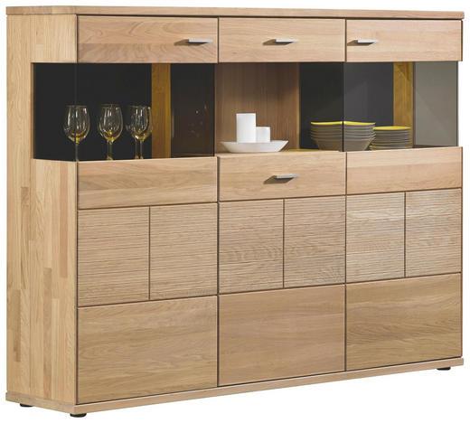 HIGHBOARD Eiche massiv geölt - Silberfarben/Schwarz, Design, Glas/Holz (183/136/40cm) - Musterring