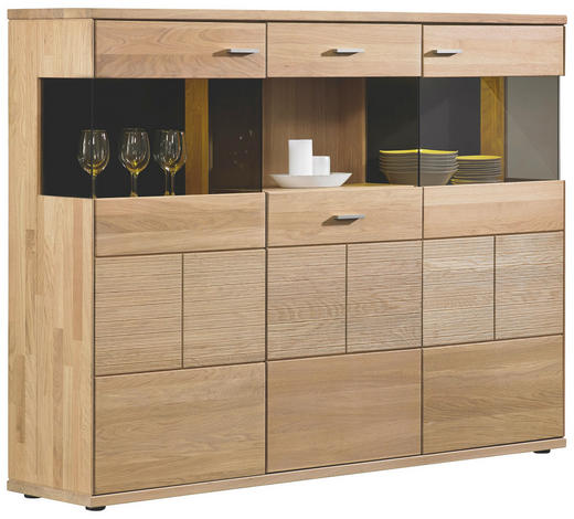 highboard eiche massiv gelt silberfarbenschwarz design glasholz 183