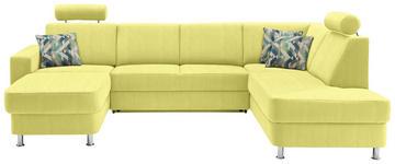 WOHNLANDSCHAFT in Gelb Textil - Chromfarben/Gelb, Design, Kunststoff/Textil (165/301/198cm) - Xora