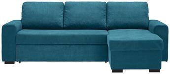 WOHNLANDSCHAFT in Textil Petrol  - Petrol/Schwarz, Design, Textil (245/160cm) - Xora