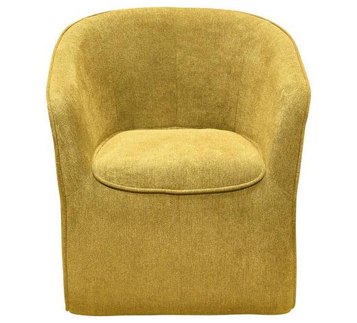 FOTELJ,  rumena tekstil, leseni material - rumena, Design, tekstil/leseni material (72/77/72cm) - Carryhome