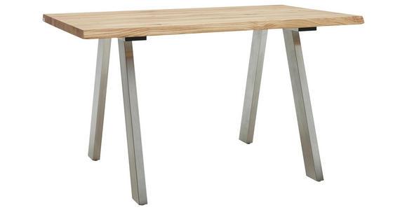 ESSTISCH Eiche massiv rechteckig Edelstahlfarben, Eichefarben - Edelstahlfarben/Eichefarben, Design, Holz/Metall (140/90/77cm) - Dieter Knoll