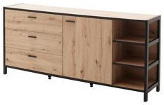 SIDEBOARD 180/83/40 cm  - Eichefarben/Anthrazit, Design, Holzwerkstoff/Metall (180/83/40cm) - Carryhome