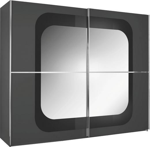 SCHWEBETÜRENSCHRANK 2-türig Anthrazit, Grau - Chromfarben/Anthrazit, Design, Glas/Holzwerkstoff (270/223/69cm) - Xora