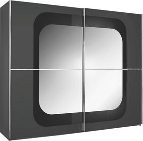 SKJUTDÖRRSGARDEROB - kromfärg/grå, Design, metall/glas (270/223/69cm) - Xora