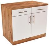 Küchenunterschrank Stella Us100 - Eichefarben/Weiß, Holzwerkstoff (100/86/55cm) - Ombra