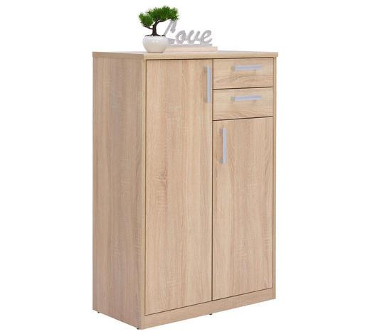 KOMODA, Sonoma dub - barvy stříbra/černá, Konvenční, kov/kompozitní dřevo (72/110/36cm) - Xora