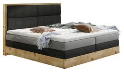 BOXSPRINGBETT 140 cm   x 200 cm   in Holz, Textil Dunkelgrau, Eichefarben, Hellgrau - Dunkelgrau/Eichefarben, Design, Holz/Textil (140/200cm) - Linea Natura