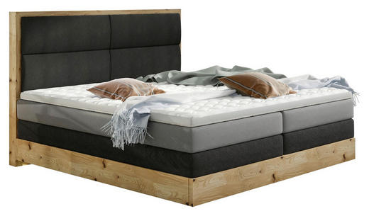 BOXSPRINGBETT 180 cm   x 200 cm   in Holz, Textil Dunkelgrau, Eichefarben, Hellgrau - Dunkelgrau/Eichefarben, Design, Holz/Textil (180/200cm) - Linea Natura