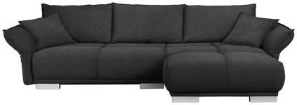WOHNLANDSCHAFT in Textil Braun, Grau - Chromfarben/Braun, MODERN, Kunststoff/Textil (310/203cm) - Hom`in