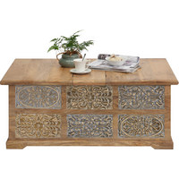 TRUHE in Holz - Hellbraun/Hellgrau, Trend, Holz (110/45/70cm) - Ambia Home