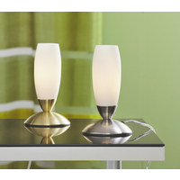 TISCHLEUCHTE - Opal/Nickelfarben, Basics, Glas/Metall (23cm) - Boxxx