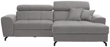 WOHNLANDSCHAFT in Textil Silberfarben  - Silberfarben/Schwarz, MODERN, Textil/Metall (267/181cm) - Carryhome
