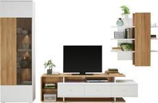 WOHNWAND in Weiß, Eichefarben  - Eichefarben/Silberfarben, MODERN, Glas/Holzwerkstoff (300/205,9/51,6cm) - Hom`in