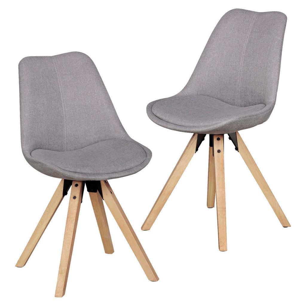 Livetastic Stuhl set webstoff grau , Lima , Holz , Kautschukholz , massiv , 48x89x42 cm , Wasserlack,Webstoff,Echtholz , 000850015402