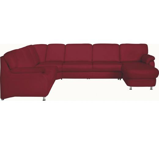 WOHNLANDSCHAFT in Leder Rot - Rot/Alufarben, KONVENTIONELL, Leder/Metall (239/329/165cm) - Beldomo Premium
