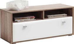 GARDEROBENBANK 100/44/38 cm - Edelstahlfarben/Eichefarben, Design, Holzwerkstoff/Metall (100/44/38cm) - Xora