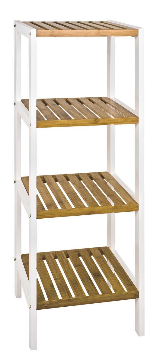 REGAL Bambus massiv Naturfarben, Weiß - Naturfarben/Weiß, Design, Holz/Holzwerkstoff (35/112/33cm)