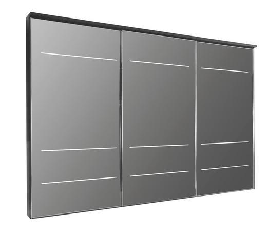 SCHWEBETÜRENSCHRANK 3  -türig Schwarz - Chromfarben/Schwarz, Design, Glas/Holz (336/240/68cm) - NOVEL