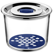 POSODA ZA SHRANJEVANJE TOP S - modra/prosojna, Konvencionalno, kovina/steklo (13/13/11cm) - WMF