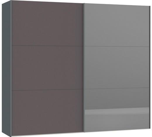 SCHWEBETÜRENSCHRANK in Silberfarben, Dunkelgrau - Dunkelgrau/Silberfarben, Design, Glas/Holzwerkstoff (252,8/220/65cm) - Jutzler