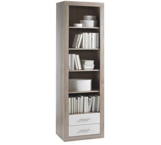 REGAL ZA KNJIGE - bijela/boje hrasta, Design, drvni materijal/drvo (57/194/37cm) - Xora