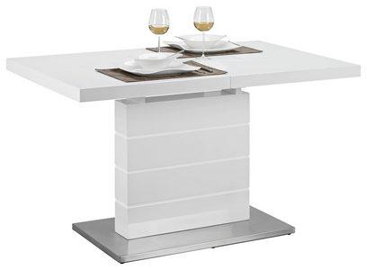 TRPEZARIJSKI STO - Bela, Dizajnerski, Drvo/Metal (130(170)/80/76cm) - Xora