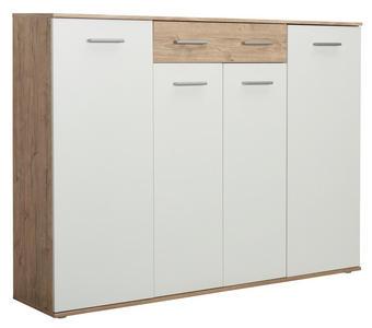 SCHUHSCHRANK Eichefarben, Weiß - Eichefarben/Silberfarben, Design, Holzwerkstoff/Kunststoff (160/120/35cm) - Xora