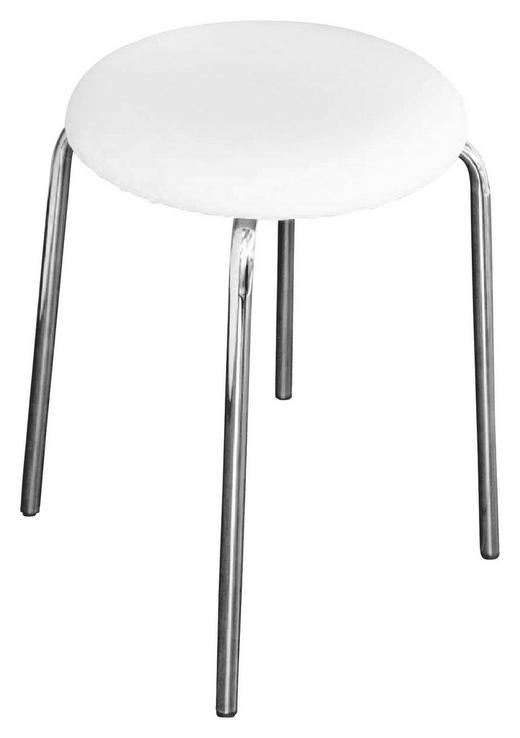 BADHOCKER - Chromfarben/Weiß, Design, Textil/Metall (33cm)
