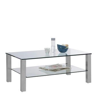 COUCHTISCH in Glas, Metall 110/70/43 cm - Edelstahlfarben, Design, Glas/Metall (110/70/43cm) - Cantus