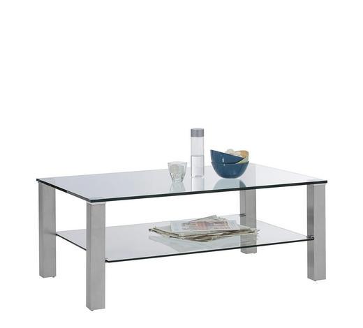 COUCHTISCH in Metall, Glas 110/70/43 cm - Edelstahlfarben, Design, Glas/Metall (110/70/43cm) - Cantus