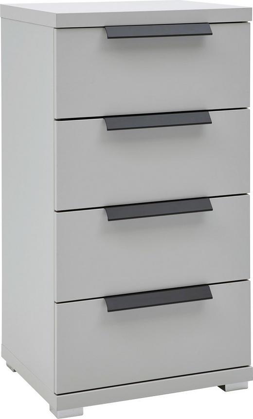 KOMMODE Weiß - Graphitfarben/Alufarben, KONVENTIONELL, Kunststoff/Metall (48/89/42cm) - Voleo
