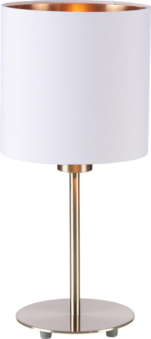 TISCHLEUCHTE - Weiß/Kupferfarben, Design, Textil/Metall (18/40cm)