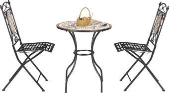 BALKONSET  3-teilig - Multicolor/Schwarz, LIFESTYLE, Keramik/Metall (60/36/72/91/60/35cm) - Ambia Garden