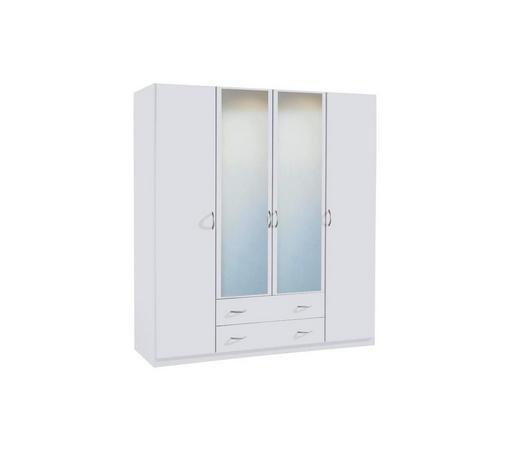 DREHTÜRENSCHRANK 4-türig Weiß - Silberfarben/Weiß, Design, Glas/Holzwerkstoff (181/197/54cm) - Carryhome