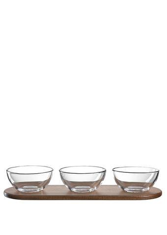 SET ZDJELICA ZA DIP - prozirno/smeđa, staklo/drvo (33,60/5,50/11,30cm) - Leonardo
