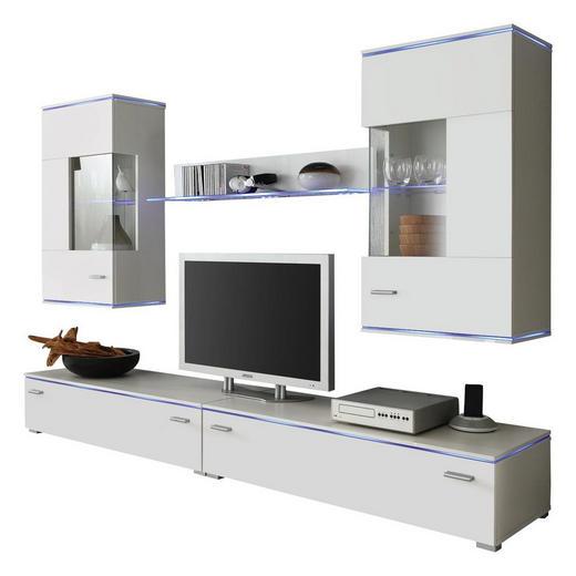 WOHNWAND Weiß - Silberfarben/Weiß, Design, Glas/Kunststoff (220/48cm) - Carryhome