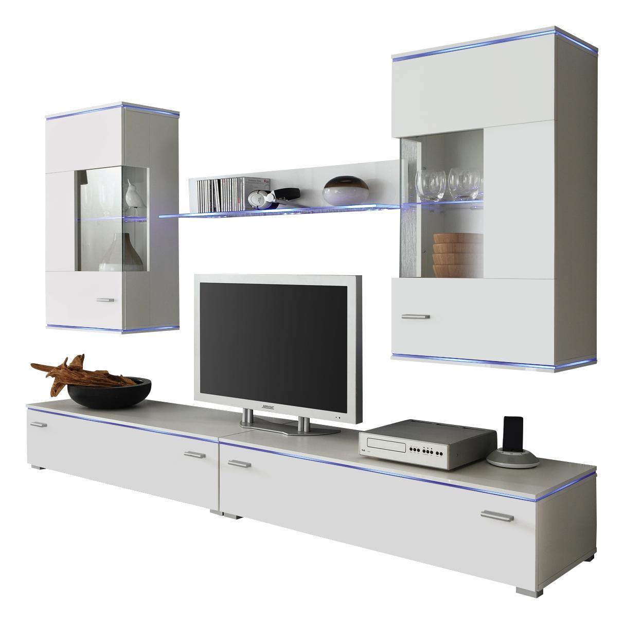WOHNWAND Weiß   Silberfarben/Weiß, Design, Glas/Kunststoff (220/48cm