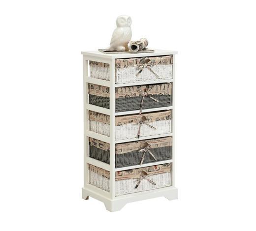 KOMMODE Paulownia mehrschichtige Massivholzplatte (Tischlerplatte), teilmassiv lackiert, gebeizt, poliert Grau, Weiß  - Weiß/Grau, LIFESTYLE, Holz/Papier (43/85,5/33cm) - Landscape
