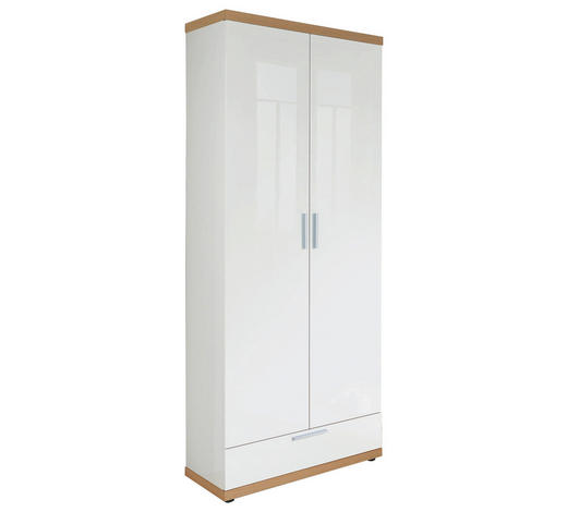 GARDEROBENSCHRANK Eiche furniert Hochglanz, lackiert, sägerau Weiß, Eichefarben  - Edelstahlfarben/Eichefarben, Design, Holz/Holzwerkstoff (70/193/37cm)