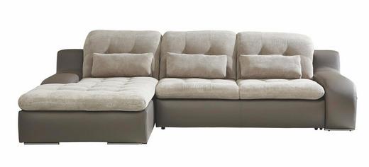 ECKSOFA Webstoff Bettkasten, Nierenkissen, Schlaffunktion - Chromfarben/Beige, Design, Textil/Metall (205/270cm) - CARRYHOME