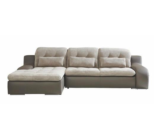 WOHNLANDSCHAFT in Textil Grau, Beige - Chromfarben/Beige, Design, Textil/Metall (205/270cm) - Carryhome