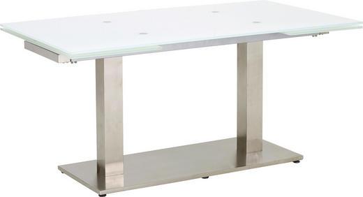ESSTISCH rechteckig Edelstahlfarben, Weiß - Edelstahlfarben/Weiß, Design, Glas/Metall (160(250)/90/76cm) - Dieter Knoll