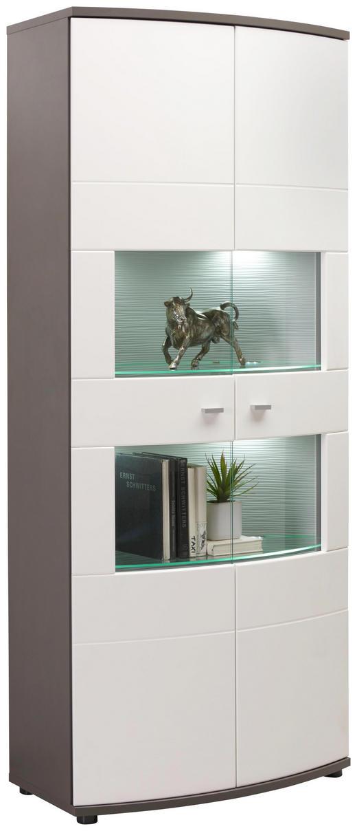VITRINE Graphitfarben, Weiß - Silberfarben/Graphitfarben, Design, Glas/Holzwerkstoff (80/193/42cm) - Xora
