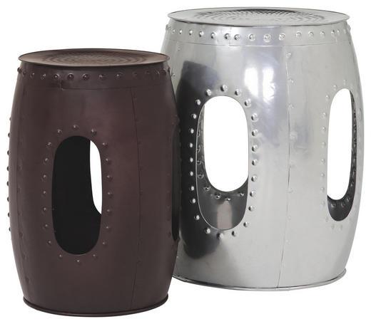 BEISTELLTISCH rund Anthrazit, Silberfarben - Anthrazit/Silberfarben, Design, Metall (41/33/51/46cm) - Carryhome