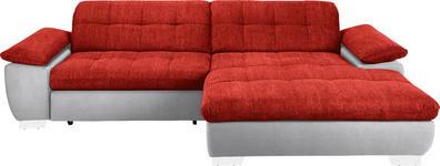 WOHNLANDSCHAFT in Textil Rot, Weiß  - Chromfarben/Rot, Design, Textil/Metall (265/180cm) - Carryhome